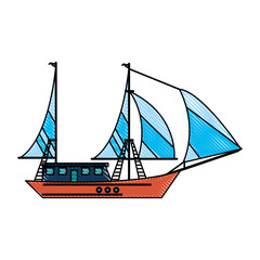 ship with sails icon image vector illustration design