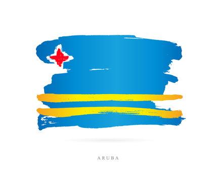 Flag of Aruba. Abstract concept