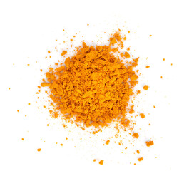 Foto auf Gartenposter Kräuter Turmeric (Curcuma) powder isolated on white background. Curry powder.
