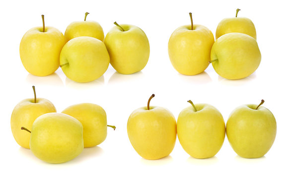 yellow apples fruits isolated on white background