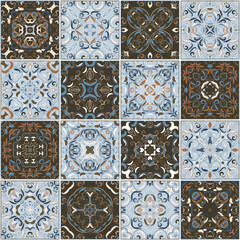 A collection of ceramic tiles in retro colors. A set of square patterns in ethnic style. Vector illustration.