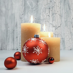 Christmas advent candles with red decorations, text space