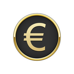Gold black round badge with euro sign