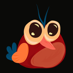 Cool red bird with big eyes