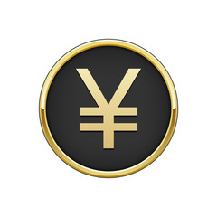Gold black round badge with Japanese yen sign