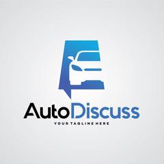 Auto Discuss Logo Template Design Vector, Emblem, Design Concept, Creative Symbol, Icon