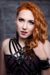 Image of ginger girl in black dress
