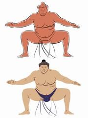 illustration of sumo wrestler, vector draw