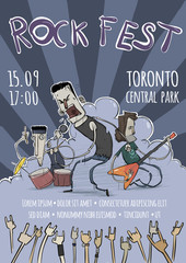 Template of poster for the rock festival or concert. Guitarist, drummer and singer characters. Heavy Rock Music band. Vector illustration in grunge style.