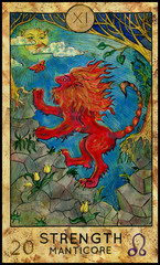 Strength. Manticore. Red beast. Fantasy Creatures Tarot full deck. Major arcana