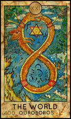 World. Ouroboros. Fantasy Creatures Tarot full deck. Major arcana