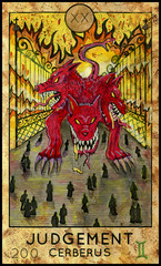 Judgement. Cerberus. Fantasy Creatures Tarot full deck. Major arcana