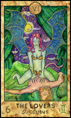 Lovers. Succubus. Fantasy Creatures Tarot full deck. Major arcana