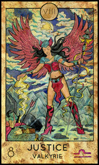 Justice. Valkyrie. Fantasy Creatures Tarot full deck. Major arcana