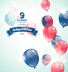 9 november.Cambodia Independence Day greeting card. Celebration background with flying balloons and text. Vector illustration