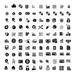 Financial business isolated flat vector icons