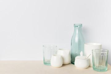 empty glass and ceramic utensils