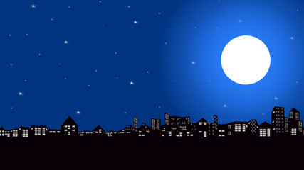 Silhouette scene of the city and night sky with stars and full moon.