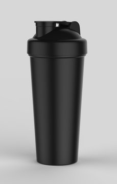 Blank black plastic shaker bottle for mock up and template design. 3d render illustration .