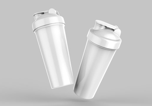 Blank white plastic shaker bottle for mock up and template design. 3d render illustration .