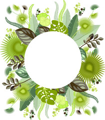 Botanical illustration of exotic leaves