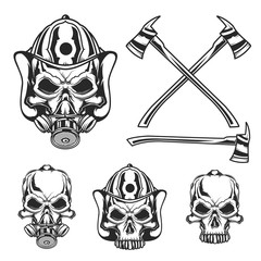 Isolated illustration of skulls with firefighter's helmet, gas mask and axes.
