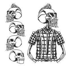 Isolated illustration of skulls and skeleton of hipster.