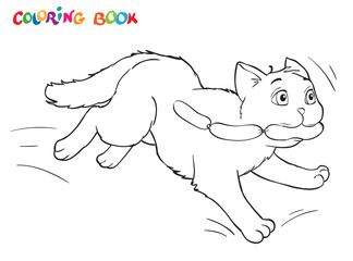 Coloring cartoon cat runs away with sausages. For adults vector illustration. Black and white lines