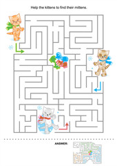 Help the kittens to find their mittens (maze for kids, answer included)