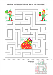 Christmas or New Year maze game for kids: Help the little elves to find the way to the Santa's sack. Answer included.