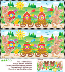 Easter egg hunt themed visual puzzle: Find the ten differences between the two pictures with bunnies, chicks, painted eggs. Answer included.