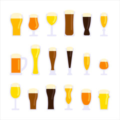 Various types of beer cups vector flat design illustration set