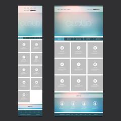 Responsive One Page Website Template Layout - Blurred Header Design - Desktop and Mobile Version
