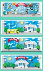 Back to school concept vector poster. School bus with building and blackboard on background. City primary and high school. Education banner in flat cartoon style