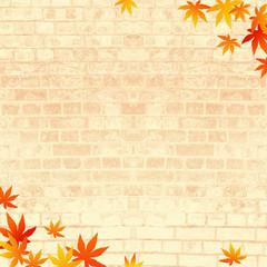 秋のイメージ レンガの背景に紅葉