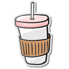 Paper coffee cup sticker