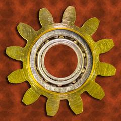 roue dentée avec roulement à billes, fond rouille