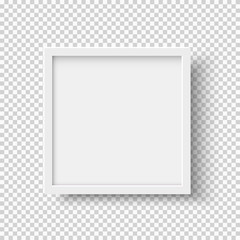 White realistic square empty picture frame on transparent background