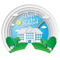 Vector set of Back to School banners in origami paper art style. School poster with building, school bus, nature background, text signs. Paper cut shapes design