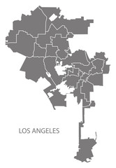 Los Angeles city map with boroughs grey illustration silhouette shape