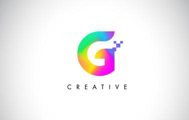 G Colorful Logo Letter Design Vector. Creative Rainbow Gradient Letter Icon