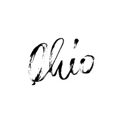 Ohio. Modern dry brush lettering. Retro typography print. Vector handwritten inscription. USA state.