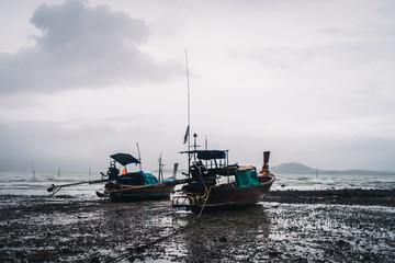 fishing boat ont the beach koh lanta