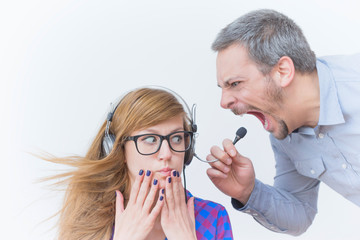 Office boss yelling at employee - discrimination and work problems.