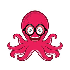 Octopus geek wearing glasses