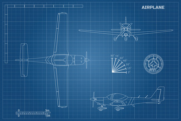 Engineering blueprint of plane. Fast sport airplane view top, side and front. Industrial drawing of aircraft