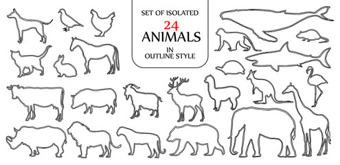 Set of isolated 24 animals illustration in double black outline style for logo, icon or background with blank space for text.