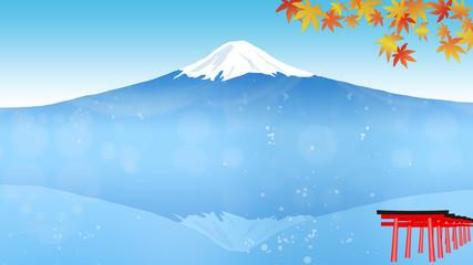 日本のシンボル富士山の見える秋の景色、紅葉と鳥居 (画面アスペクト比16:9)