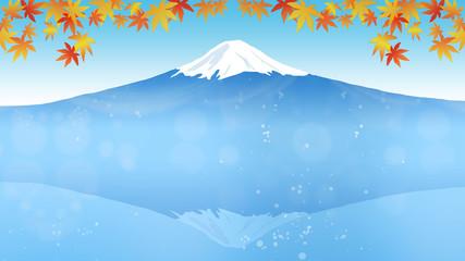 日本のシンボル富士山の見える秋の景色と紅葉 (画面アスペクト比16:9)