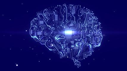 Terminator brain with CPU microchips Wall mural
